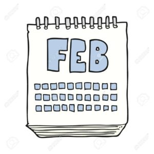 freehand drawn cartoon calendar showing month of february
