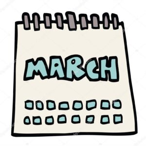 cartoon doodle calendar showing month of march